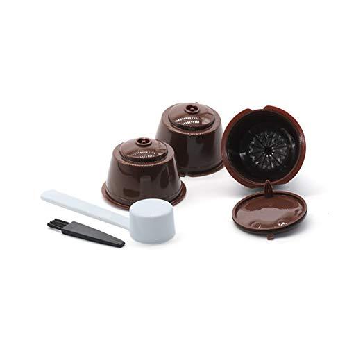 Kurphy Juego de tazas de filtro de cápsulas de café reutilizables con cepillo de cuchara ecológico filtro de malla de acero inoxidable adecuado para Dolce Gusto