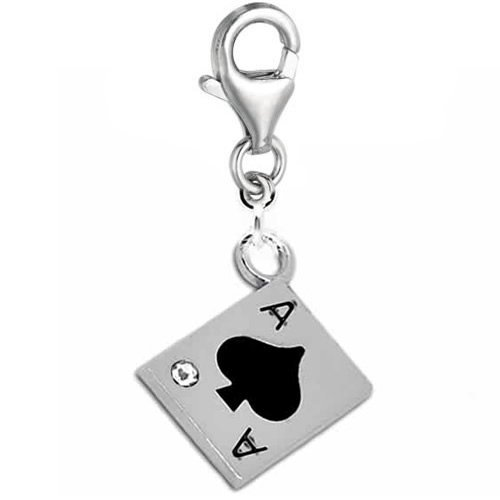 Sexy Sparkles Women's Clip On Poker Card Charm Dangle Charm Pendant For European Clip On Charm Jewelry W/Lobster Clasp