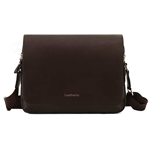 Leathario Messenger Bag Shultertas PU-leer 13 inch dames & heren laptoptas 33,5 * 6 * 24,5 500g zwart