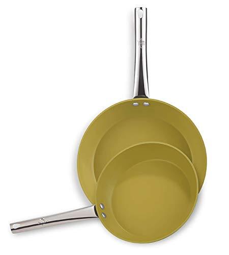 BERELA HOME FOLIVY Set Sartenes 24-28 cm con Mango Largo Profesional de Aluminio, Sarténes Antiadherentes Eco PFOA Free. Sartén Antiadherente 24 cm y 28 cm. Set de sartenes Antiadherente