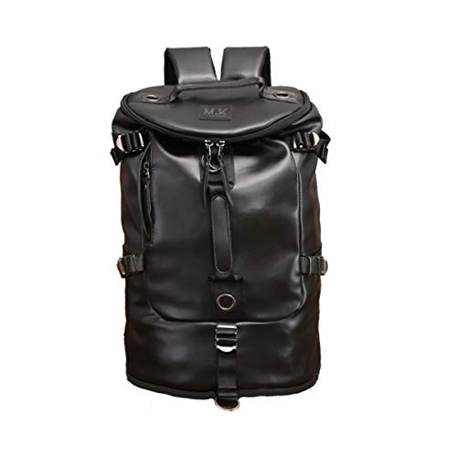 Canvas Backpack for Men Travel Duffel Bag Holdall Weekend Backpack Casual Daypack Handbag Overnight Rucksack Laptop Backpack for College (Travel Backpack for PU Black)