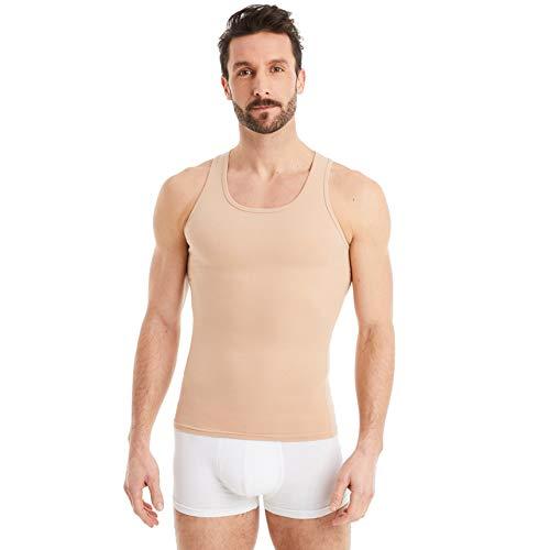 FINN figurformendes Kompressions-Unterhemd Herren - Shapewear Tank-Top mit Bauch-Weg Effekt Unsichtbare Hautfarbe Nude XL