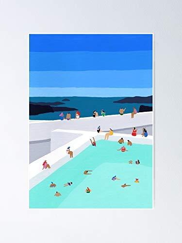 AZSTEEL Santorini Pool Poster Poster 11.7 * 16.5