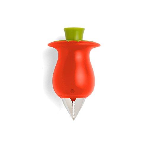 Chef'n Tomatenstrunkentferner, Tomatenentstieler und -entkerner mit Funktionsteil aus Edelstahl, Küchenhelfer zum Dekorieren von Obst und Gemüse (Farbe: Dunkelrot), Menge: 1 Stück