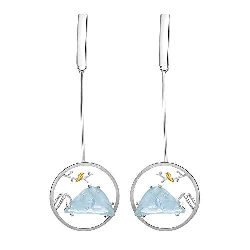 Springlight S925 Sterling Silber Ohrringe Natürlicher Edelstein Vogel Flüstern und Berg Design Ohrringe Geschenke für Frauen, Handgemachte Feine Schmuck Ohrringe für Damen.(Silber)