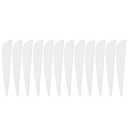 Tbest Pluma de Flechas de Tiro con Arco de 12 Piezas, Plumas de Tiro con Arco de 3 Pulgadas Plumas de Escudo de Pavo Real Pluma de Flecha de Bricolaje(Blanco)
