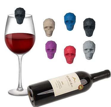 Keleily Marcador de copa de vino,14Piezas marcadores de bebida Reconocimiento copas vino marcadores silicona para cristal flores reutilizables marcadores con forma de calavera para vaso de whisky
