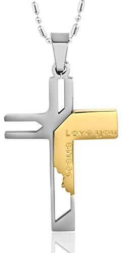 Abellale - Collar con Colgante de Acero Inoxidable para Hombre, diseño de Cruz de Jesús Dorada
