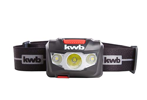 kwb Akku Kopf-Leuchte mit LED Technik, 1800 mAh Li-Ion Batterie, ANSI FL 1 - Standard, Lampe mit 7 Leucht-Modi, Strahlwasser-Schutz