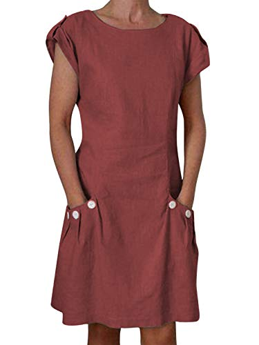 Yidarton Damen Kleider Leinen Strandkleider Elegant Casual A-Linie Kleider Ärmellos Sommerkleider,Rot,M