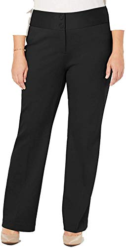 Alfani Womens Plus Wide Leg Mid-Rise Trouser Pants Black 18W