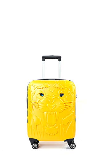 CCS Tiger Suitcase Durable 8 spinner wheels Travel Luggage Bag Trolley Lightweight Hardcase ABS (S, Yellow)