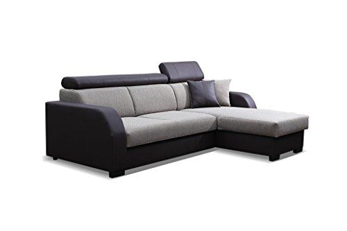 Couch mit Schlaffunktion Eckcouch Ecksofa Polstergarnitur Wohnlandschaft - COBBY (Ecksofa Rechts, Braun)