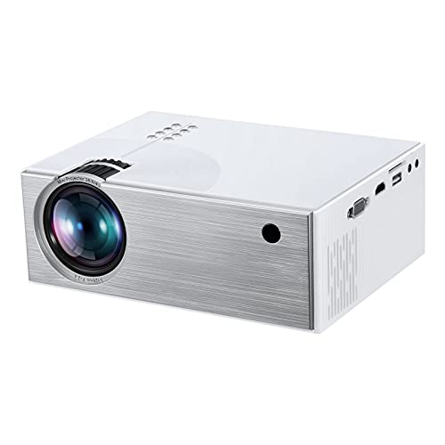 Mini Projector, Home Theater Projector Wireless 1280x720P WiFi, 1080P Supported Compatible With TV Stick, Video Games, HDMI, USB, TF, VGA, AUX, AV (Color : White)