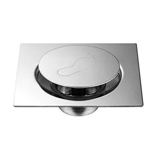 WDYKYQAl Square Silver Pedal Type Cover Waste Easy Clean Hotel Floor Drain Durable Shower Acero Inoxidable Desodorante De Rebote Baño-1