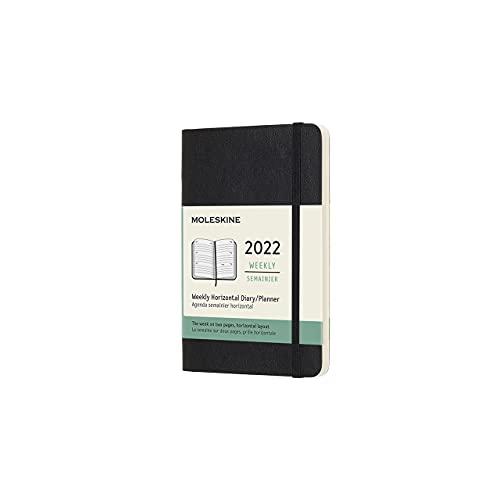 Moleskine DSB12WH2Y22 - Diario semanal de 12 meses, 2022 con diseño horizontal y tapa blanda, formato de bolsillo 9 x 14, color negro