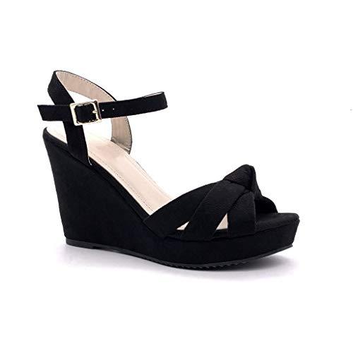 Angkorly - Chaussure Mode Sandale Mule élégant soirée Mariage cérémonie Femme lanières croisées Noeud Boucle Talon compensé 11 CM - Noir 11 - BL257 T 40