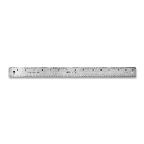 "Westcott 10416 15"" Stainless Steel Office Ruler with Non Slip Cork Base"