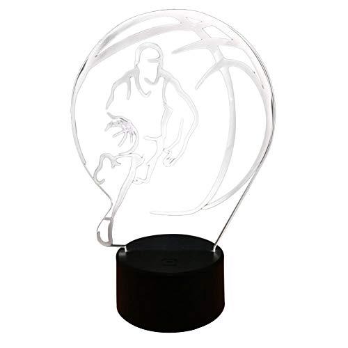 Lámpara de ilusión 3D Led Luz de noche Juguetes de cumpleaños Regalos de fiesta de la familia Decoración de la lámpara de mesa de sueño de los niños Jugando Baloncesto con colorido toque 3D luz