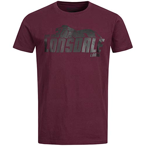 Lonsdale Herren T-Shirt Wellington, Farbe:Vintage Oxblood, Größe:2XL