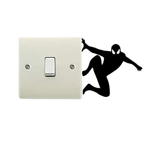 ytrewq Creativa Silueta de Spiderman Pegatinas de Interruptor extraíbles Dibujos Animados superhéroe Pegatina de Pared calcomanías de Vinilo decoración del hogar para habitación