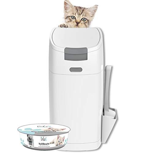 Littycat Katzenstreu Entsorgungseimer mit Schaufel - inkl. Nachfüllkassette - Katzenklo Mülleimer