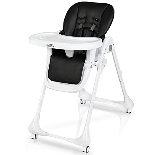 Kinder King 3 in 1 Baby High Chair w/4 Lockable Wheels, Converts to Toddler Chair, Simple Fold Highchair for Infants, Adjustable Height, Recline & Footrest, Detachable Double Trays, PU Cushion,Black