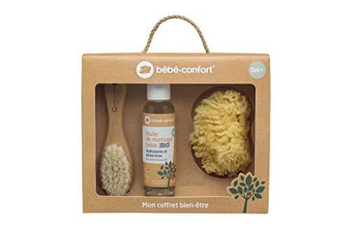 Bébé Confort 3107203300 - Caja de regalo para nacimiento/bienestar del bebé, aceite de masaje ecológico + esponja natural + cepillo de madera
