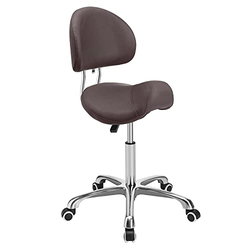 Kaleurrier Saddle Stool Rolling Swivel Height Adjustable with Wheels,Heavy Duty Anti-Fatigue Stool,Ergonomic Stool Chair for Dentist,Salon,Massage,Office and Home Kitchen (Coffee,with Backrest)