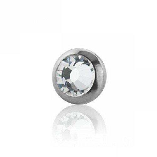 eeddoo Piercingkugel Schraubdisk Kristall Silber Titan 1,2 x 3 mm