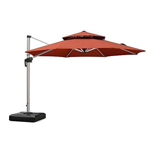 PURPLE LEAF 11 Feet Double Top Round Deluxe Patio Umbrella Offset Hanging Umbrella Outdoor Market...