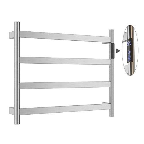 JHome Toaller Warmer 4 Bar Rack de Toallas climatizado eléctrico, baño de Pared de baño en el hogar Plug-in/de Acero Inoxidable con cableado de Acero Inoxidable (Temporizador de Pantalla LED) Plata