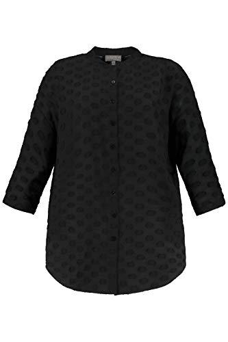 Ulla Popken Damen große Größen Bluse, Oversized, Tupfen-Design, 3/4-Ärmel, Selection schwarz 46/48 749293 10-46+