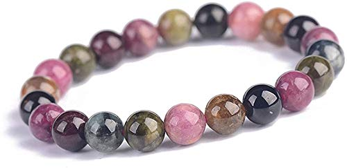 Gymqian Lucky Natural Color Tourmaline Bracelet Round Bead Bracelet Elastic Bracelet Charm Bracelet for Women Men for Wealth and Good Luck,8Mm Classic / 10mm