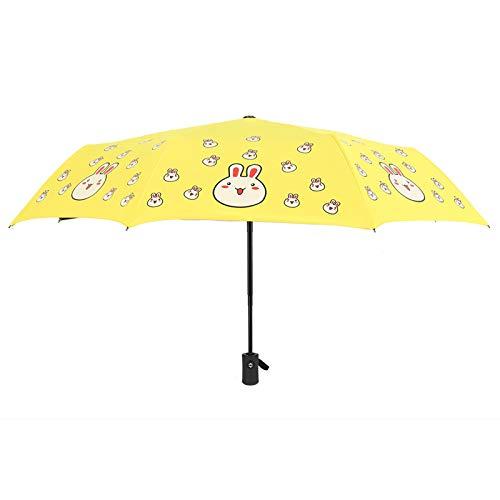 Paraguas Plegable automático de Tres Pliegues Langchao, Vinilo, Protector Solar, protección UV, Pomelo, melocotón, Paraguas de Frutas Conejo Amarillo Paraguas automático 8 Varillas