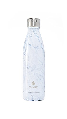 Manna Vogue Metallic Stainless Steel Double Walled Vacuum Insulated 17 Ounce Water Bottle | No Sweat | No BPA | Keeps Drinks Hot 12 Hours and Cold 24 Hours - White Marble