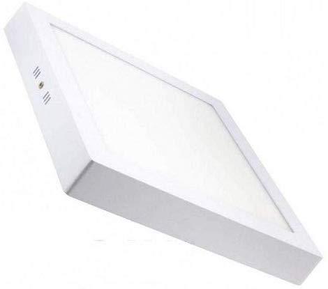 Plafón LED cuadrado, iluminación 18W (Luz Neutra, Marco Blanco)