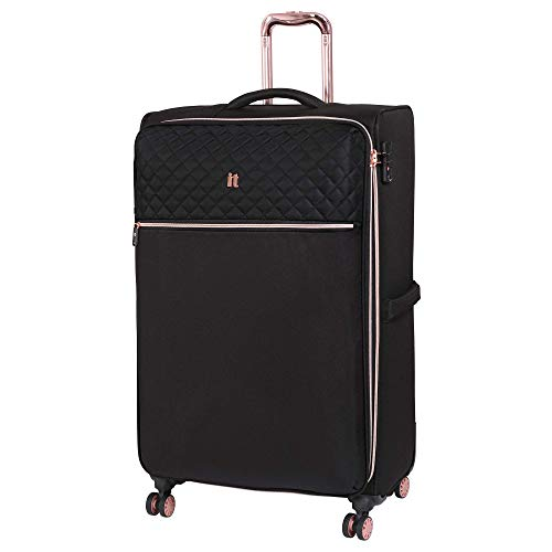 it luggage Divinity 8 Wheel Lightweight Semi Expander Large With Tsa Lock Suitcase, 125 L, Black