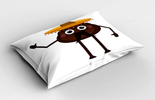 ABAKUHAUS Poop Emoji Pillow Sham, Funny Cartoon Mexican Turd with a Hat and Mustache, Decorative Standard Size Printed Pillowcase, 26' X 20', Chocolate Earth Yellow