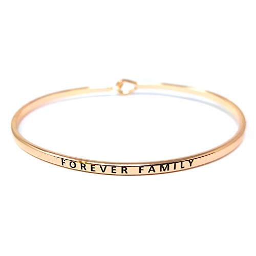 by you Inspirational Forever Family Message Engraved Thin Cuff Bangle Hook Bracelet (Forever Family-Rosegold, Brass)