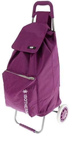 Vida Einkaufstrolley CV605, 2 Räder, isoliert, leicht, praktisch, robust, hochwertig, großes Fassungsvermögen (violett), 2 kg, 95 x 39 x 32 cm