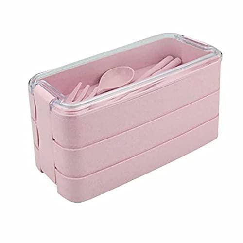 Caja para adultos Almuerzo, 900 ml 3-nivel Bento Blento Caja de almuerzo de tres niveles para estudiantes con cuchara, tenedor y palillos Caja de almacenamiento de alimentos Contenedor, Rosa SONG