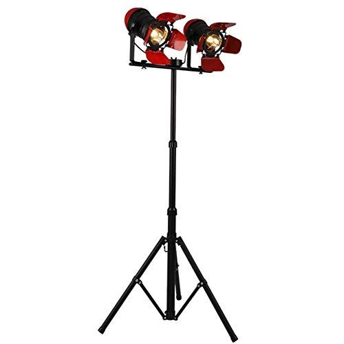 GUOXY Lámpara de Pie Industrial Retro Rojo/Negro Searchlight Altura Ajustable Sombra Cerrada Cuerpo Giratorio E27 Pintura para Hornear de Doble Cabeza Lámpara de Pie de Hierro Forjado con Interrupt