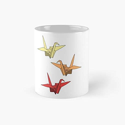 Thousand Origami Cranes Sunset Classic Mug | Best Gift Funny Coffee Mugs 11 Oz