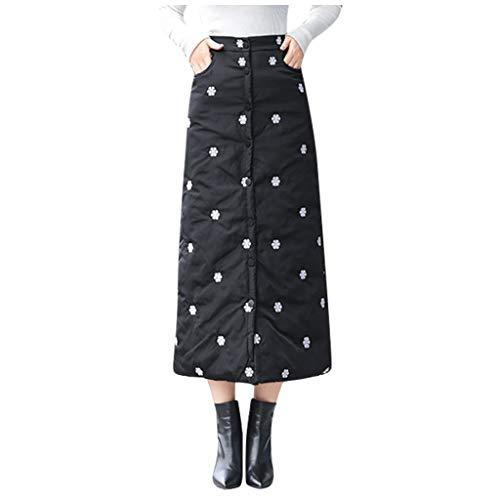 Luotuo Daunen Rock Damen Winter Dick Warm Lange Rock Hohe Taille A-Linie Reißverschluss Rock mit Tasche Neu Schwarz Baumwollrock Outdoor Kälteschutz Long Skirt