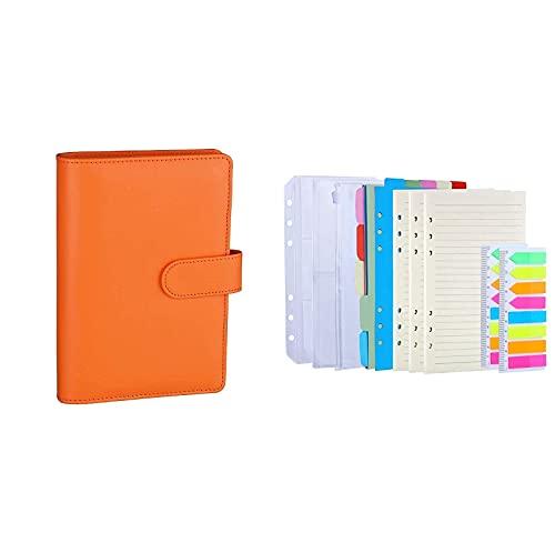 Antner A6 PU Leather Notebook Binder (Orange) Bundle   3 Pack A6 Refill Paper, 2 Pack 160pcs Neon Page Markers, 10pcs Binder Dividers, 3pcs Binder Pockets