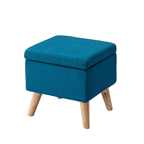 HKX Reposapiés para reposapiés, tapizado de Lino, Caja de Almacenamiento, Cuadrado, Sala de Estar, Dormitorio, Asiento, Deslizamiento, Duradero, 4 Patas de Madera, Azul (Color: Morado)
