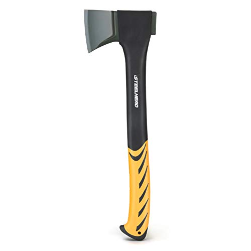 STEELHEAD 17.5 in. Splitting Hatchet, Synthetic Textured Rubber Grip, Forged High-Carbon Steel, Non-Stick Corrosion-Resistant Finish, Carrying Sheath Included, Solid Insert Molded Head, Lightweight