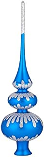 Christmas Tree Topper – Unique Collection of Blown Glass Xmas Tree Finials – Mouth-Blown, Hand-Painted Treetop Glass Season Decorations, Beautiful, Classic Christmas Tree Ornaments, 10 inch,GraceBlue