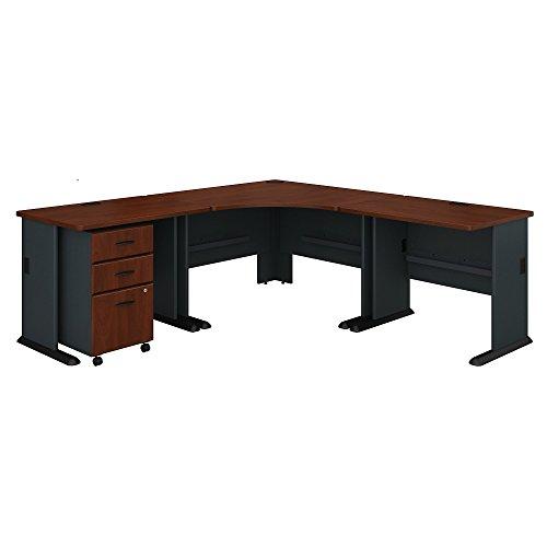 Bush Furniture BSHSRA041HCSU Series A Hansen Cherry 84W X 84D Corner Desk with 3 Drawer Mobile Ped